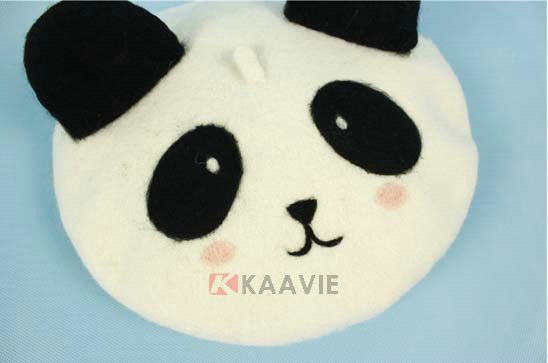 可爱熊猫贝雷帽定做