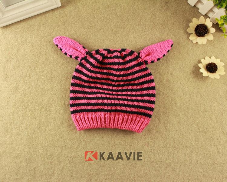 儿童粉红条纹可爱耳朵针织帽定做