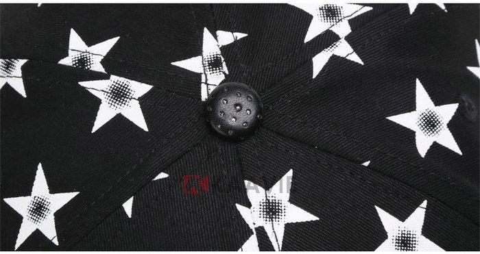 凯维帽业-小清新款黑色3d绣花印花混搭平沿帽 星星字母 皮革帽舌-pj