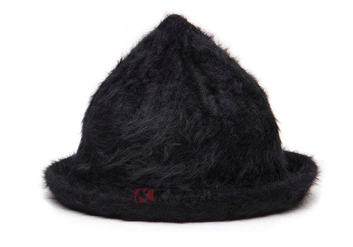 尖顶折边纯色简约仿毛女士贝雷帽