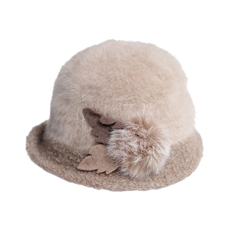 女士拼色装饰球秋冬保暖时装帽 贝雷帽