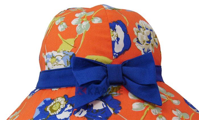 凯维帽业-新款蝴蝶结印花户外遮阳帽
