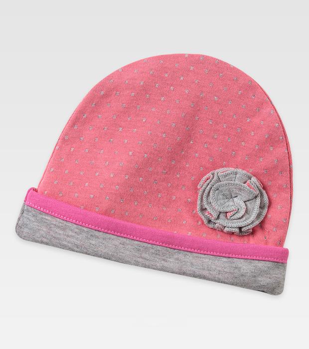 折叠花粉红色点点可折边儿童套头帽订制定做