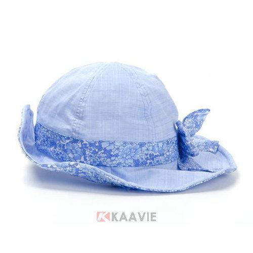 凯维帽业-浅蓝色碎花蝴蝶结女童渔夫边帽