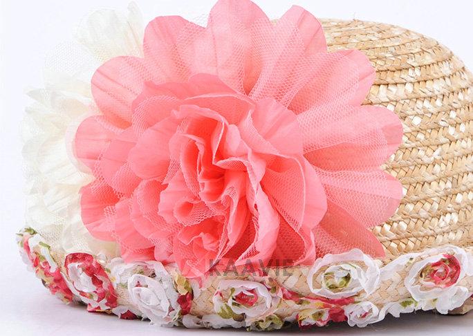 凯维帽业-蕾丝花边折边装饰花朵春夏户外遮阳草帽
