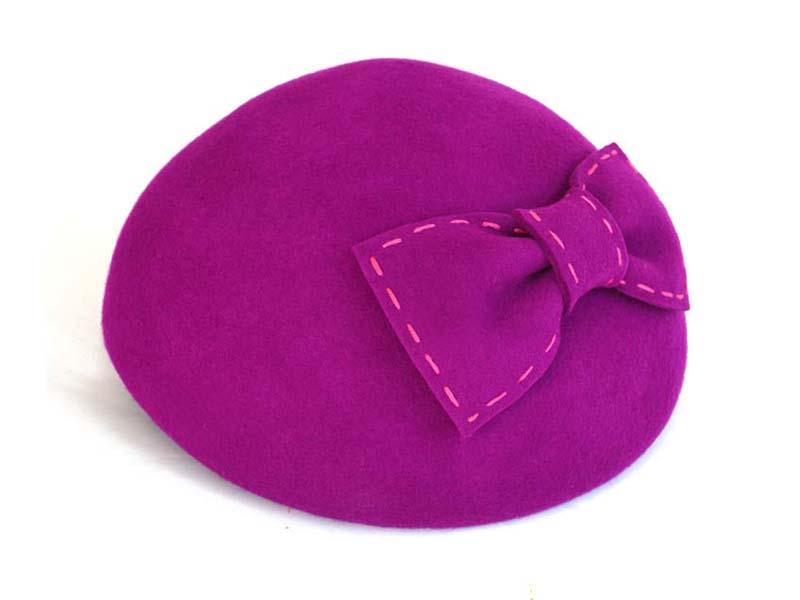 凯维帽业-纯色蝴蝶结羊毛贝雷帽定做 -FW016