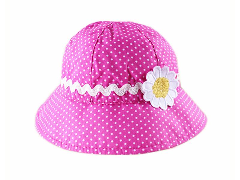 凯维帽业-儿童粉红雏菊小圆点户外遮阳帽定做-RT035
