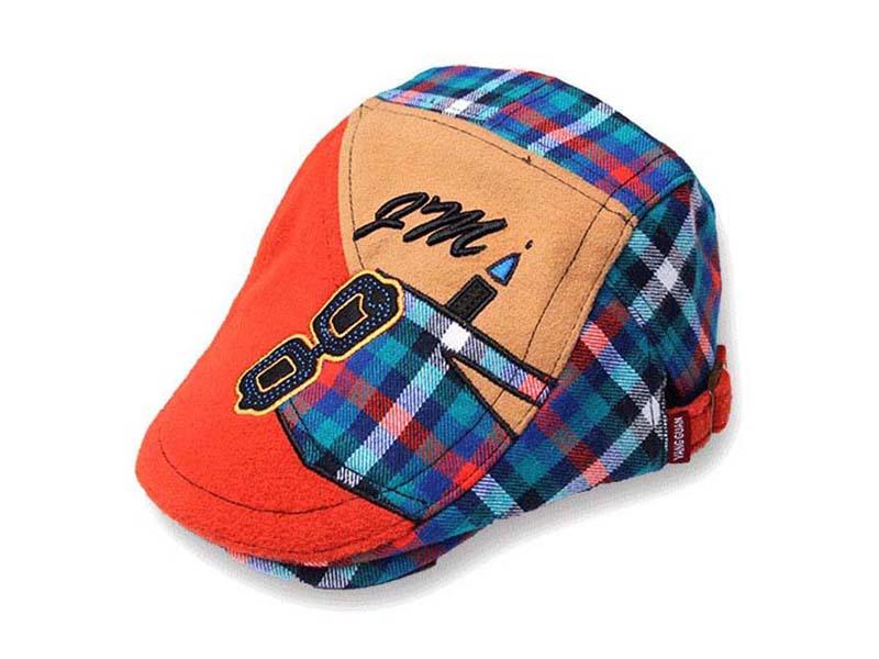 凯维帽业-拼色儿童格子鸭舌帽-EM029