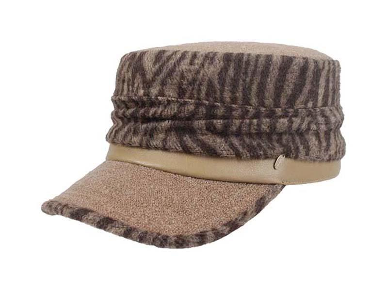凯维帽业-女款时装斑马纹平顶帽定做-JH031