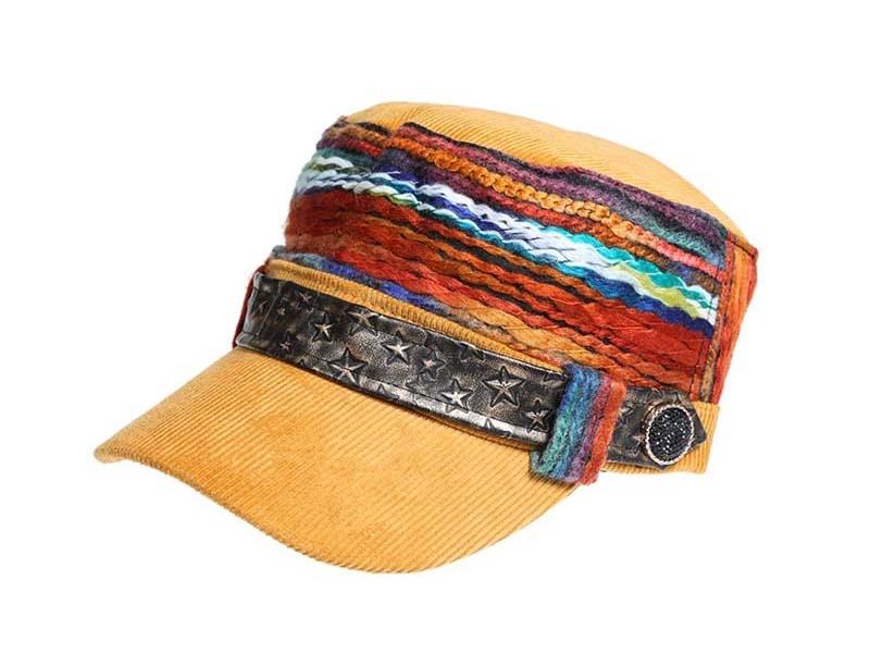 凯维帽业-名族风女款时尚军帽平顶帽定做-JM039