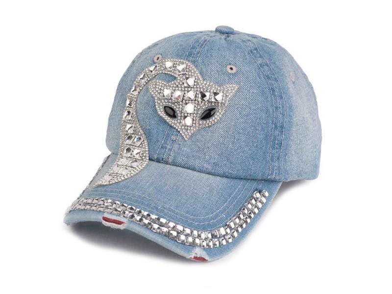 凯维帽业-女士洗水做旧镶钻猫咪时装牛仔棒球帽加工订做定制 -BM116
