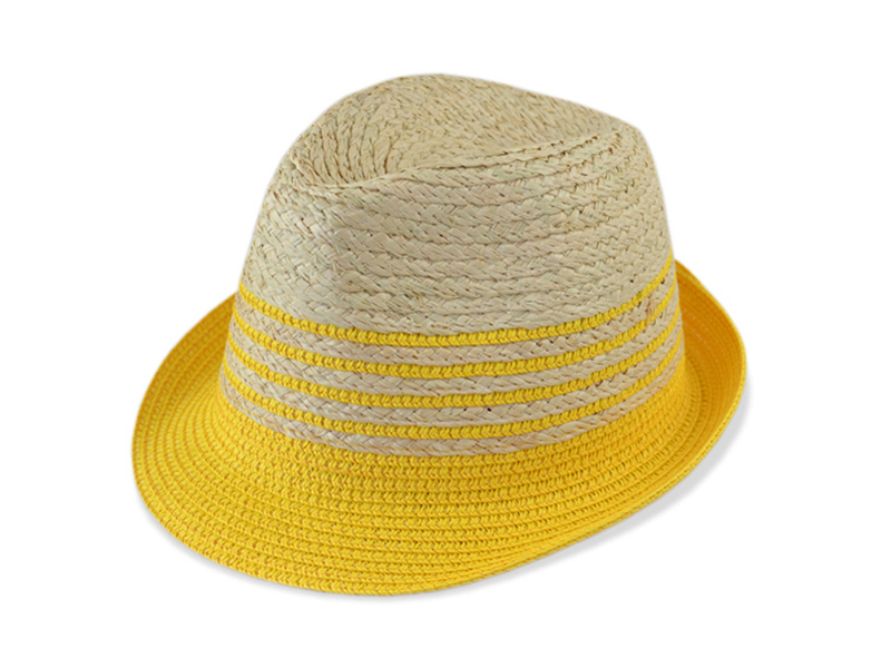 凯维帽业-帽厂专业OEM加工简约撞色拼接夏季遮阳草编定型帽-CZ098