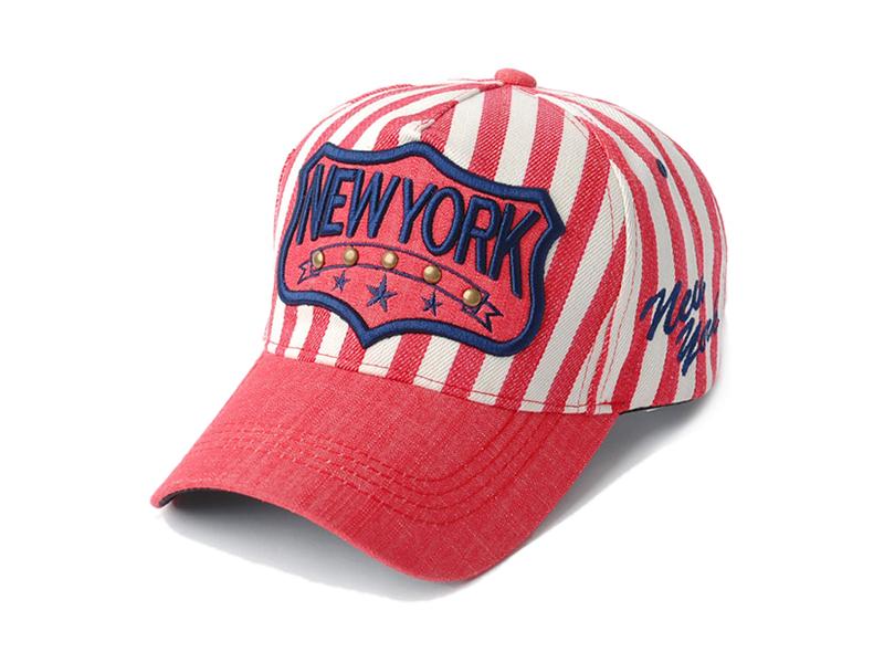 凯维帽业-红白海军条纹3D绣花字母棒球帽贴牌加工ODM定做 -BM154