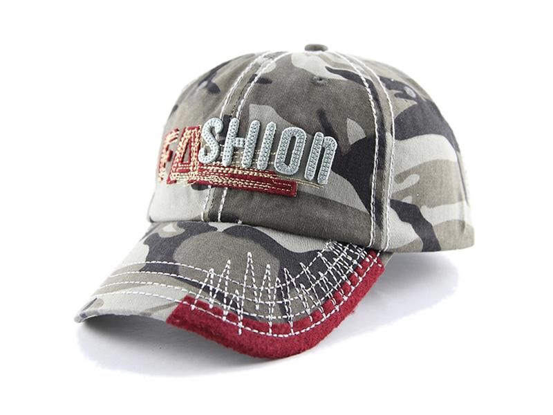 凯维帽业-韩版时尚潮流绣花字母迷彩六页棒球帽ODM加工 新款-BM165