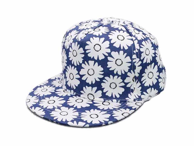 凯维帽业-广州帽厂订制花朵印花春夏平额嘻哈帽 儿童 成人款-PM124