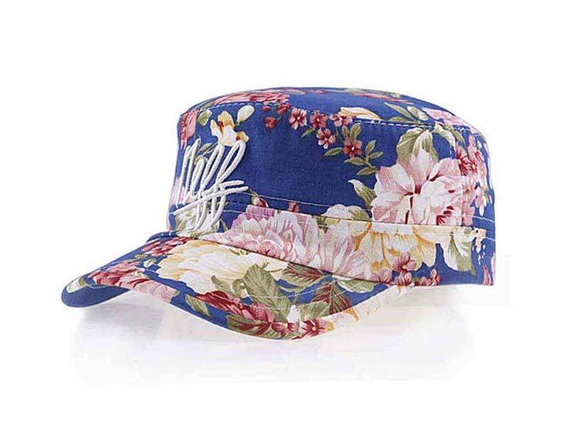 凯维帽业-女士时装平顶军帽 工厂专业加工定做 印花 春夏遮阳-JT071