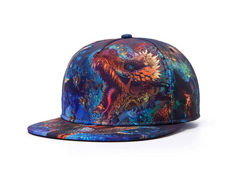 凯维帽业-炫彩大龙印花韩版时尚潮流时装平沿嘻哈帽 广州订做 -PP153