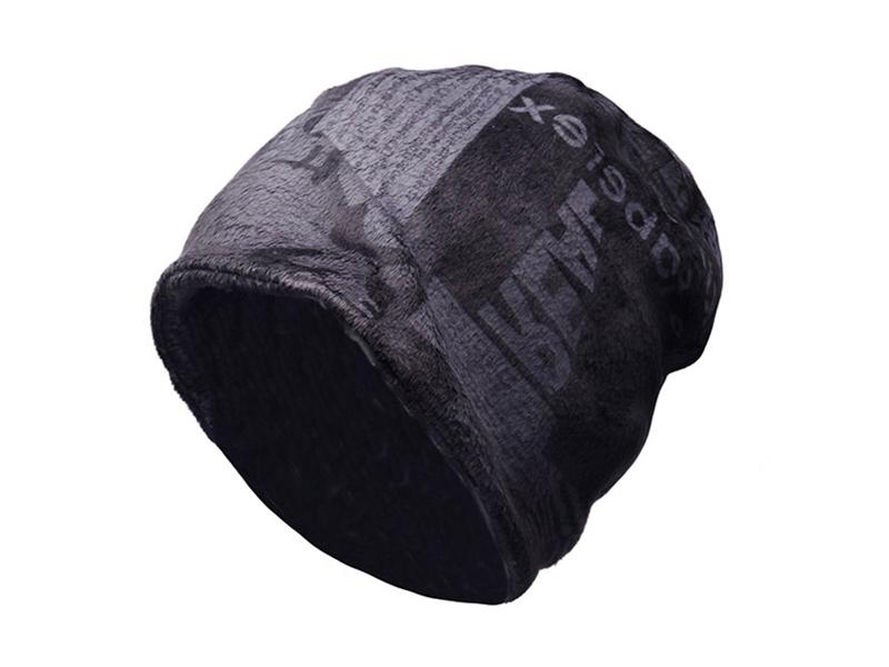 凯维帽业-男士复古印花秋冬保暖套头帽