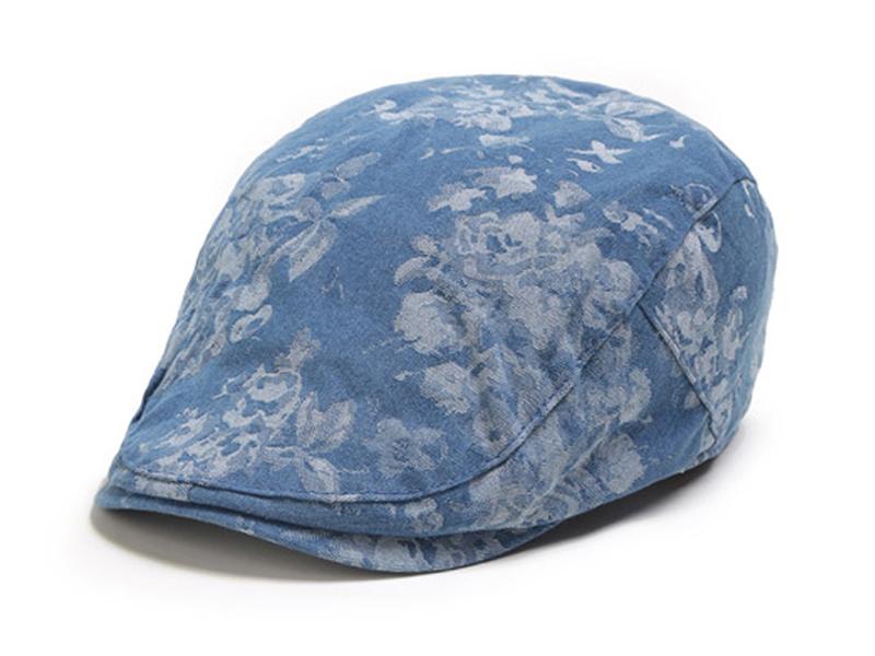 凯维帽业-蓝色全棉印花花朵女士春夏遮阳急帽EM061