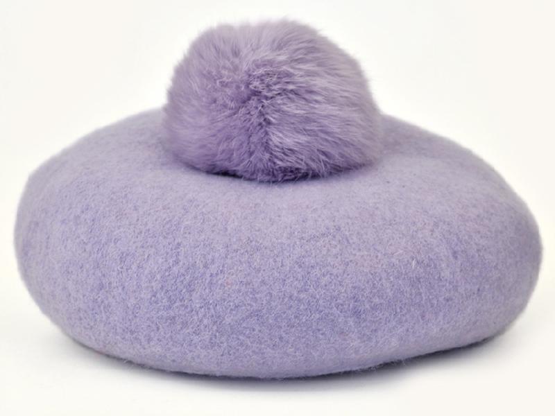 凯维帽业-时尚浅色兔毛圆帽SW034