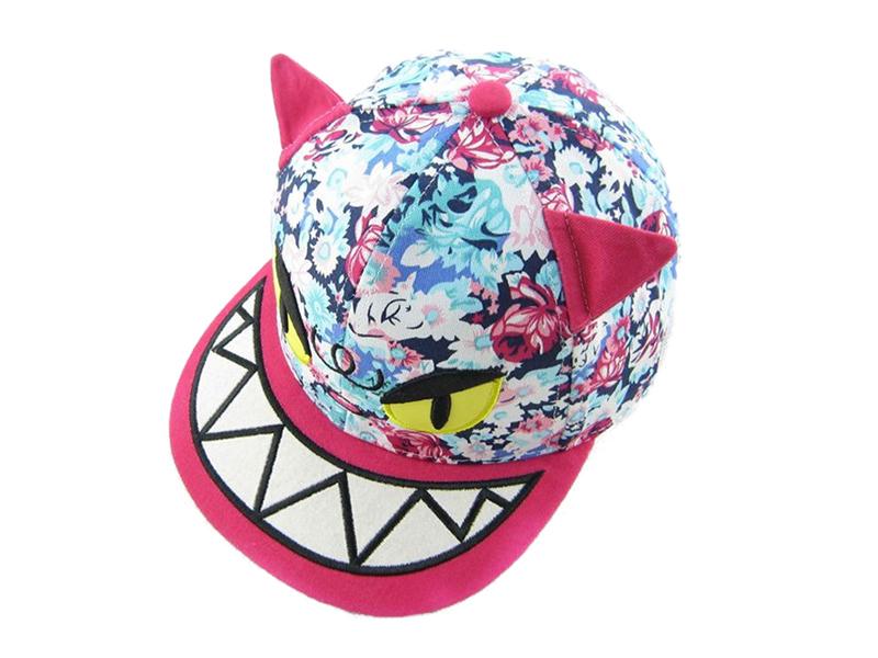 凯维帽业-儿童撞色拼接印花卡通动物棒球帽定做