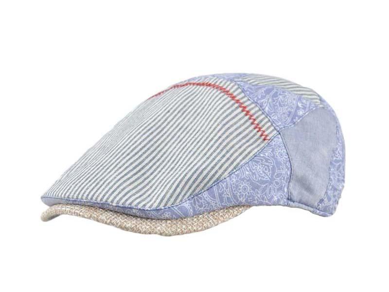 凯维帽业-海军条纹复古印花拼接鸭舌帽EM093