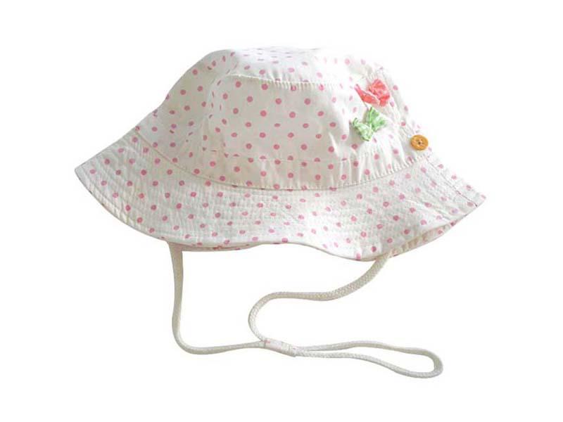 凯维帽业-点点小蝴蝶结女童夏季遮阳桶帽RM469