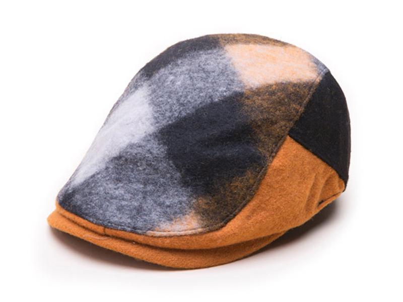 凯维帽业-撞色拼接时尚格子鸭舌帽 男女款 EW082