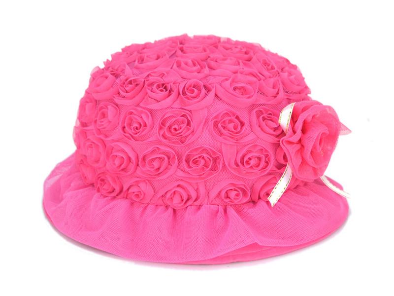 凯维帽业-小女孩蕾丝装饰花时装遮阳小边帽RT338