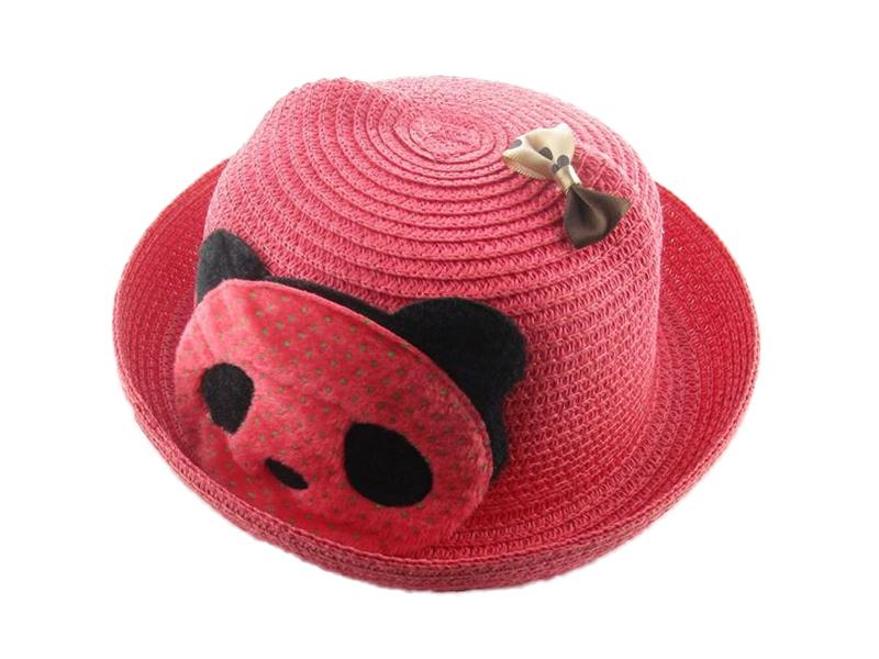 凯维帽业-卡通熊猫蝴蝶结贴布绣沙滩遮阳定型草帽RZ245