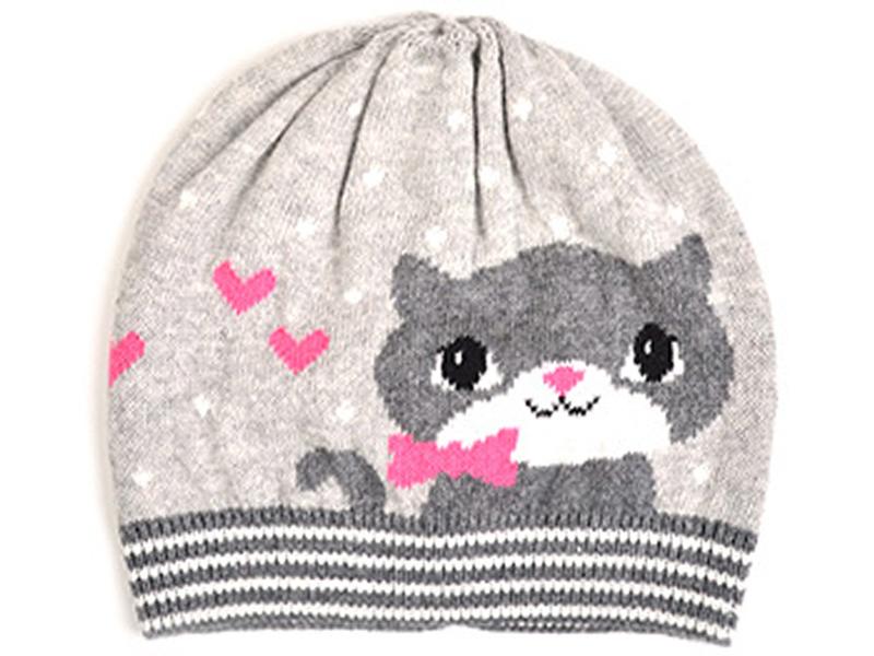 针织帽-可爱猫咪浅色简约棒球帽定制ZM096