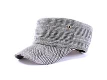 凯维帽业-千鸟格子时尚军帽JM011