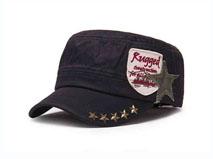 凯维帽业-复古柳钉平顶帽JM015