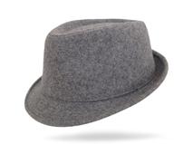 凯维帽业-花灰色羊毛男士定型礼帽DW004