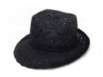 凯维帽业-黑色高端时尚草帽生产厂家-CZ008