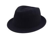凯维帽业-纯黑色定型礼帽羊毛定做-DW015
