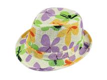 凯维帽业-儿童多彩树叶花都印花草帽定做-CZ012