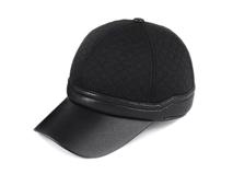 凯维帽业-时尚菱格皮革拼接时装帽定做-SM008