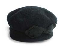 凯维帽业-黑色羊毛贝雷帽定做-FW008