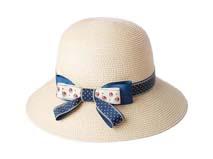 凯维帽业-新款女士丝带草帽定做 -CZ019