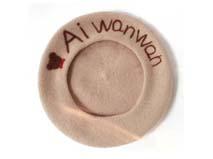 凯维帽业-简约字母羊毛贝雷帽定做 -FW026