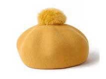 凯维帽业-纯色女款毛毛球贝雷帽定做-FW032