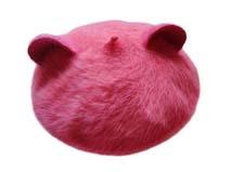 凯维帽业-兔毛耳朵女款粉色贝雷帽定做-FH037