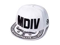 凯维帽业-白色字母绣花平板帽定做 -PJ036