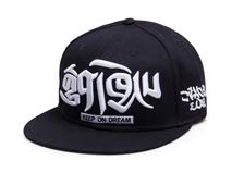 凯维帽业-黑色3D绣花平板帽定制 -PM043