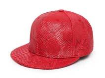 凯维帽业-红色色皮人造皮平板帽定做-PP044