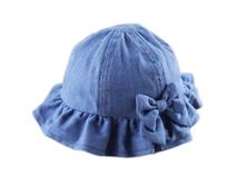 凯维帽业-女孩牛仔折边蝴蝶结遮阳帽定做-RM029