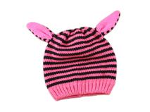 凯维帽业-儿童粉红条纹可爱耳朵针织帽定做 -RM042