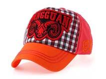 凯维帽业-3D绣时尚格子棒球帽 儿童定做-BM067