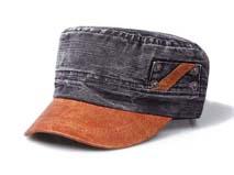 凯维帽业-真皮混搭牛仔水洗平顶帽订做-JM025